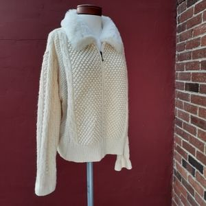 Cable Knit Faux Fur Wool Cardigan Sweater Winter
